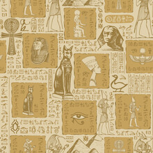Seamless Pattern On The Theme Of Ancient Egypt With Sketches And Scribbles. Hieroglyphs Are Randomly Selected And Do Not Make Sense. Vector Abstract Background. Wallpaper, Wrapping Paper, Fabric