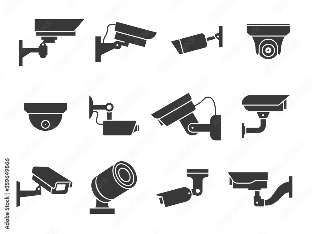 Fototapeta Cctv icons. Security camera, guard equipment video surveillance, private and industry observe warning crime, digital safety vector signs