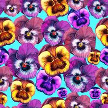 Pansies Flowers Painted In Wat...