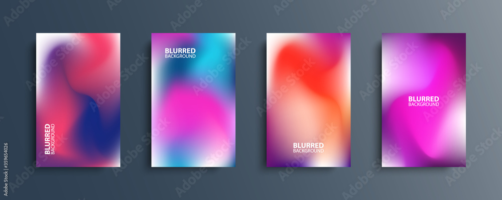 Fototapeta Blurred backgrounds set with modern abstract blurred light color gradient patterns. Smooth templates collection for brochures, posters, banners, flyers and cards. Vector illustration.