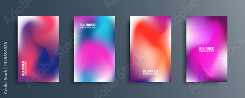 Fototapeta Blurred backgrounds set with modern abstract blurred light color gradient patterns. Smooth templates collection for brochures, posters, banners, flyers and cards. Vector illustration. obraz