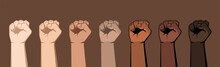 Set Of Seven Raised Fists Of D...