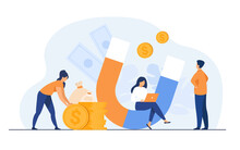 Income And Money Attraction. People With Magnet Getting Cash. Vector Illustration For Fast Loan, Income, Investment, Profit, Finance, Success Concept