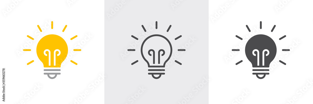 Fototapeta Light bulb icon. Line, solid and filled outline colorful version, outline and filled vector sign. Idea Symbol, logo illustration. Different style icons set. Vector graphics