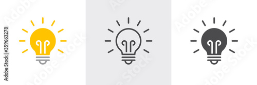 Fototapeta Light bulb icon. Line, solid and filled outline colorful version, outline and filled vector sign. Idea Symbol, logo illustration. Different style icons set. Vector graphics obraz