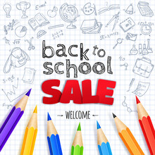 Welcome Back To School Sale Creative Banner With Hand Drawn Doodle Elements And Paper Apple Symbol.  Vector Illustration.