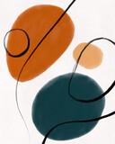 Abstract minimalist art organic shapes watercolor illustration - 359675823