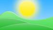 Leinwandbild Motiv Landscape of  green fields, hills and bright blue sky. Cartoon style 3D illustration