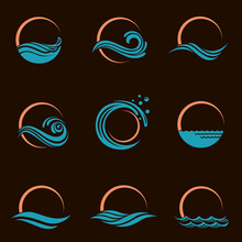 Abstract Collection Of Sun And Sea Icons Isolated On Black Background
