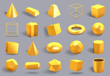 Realistic 3D Gold Shapes. Gold...
