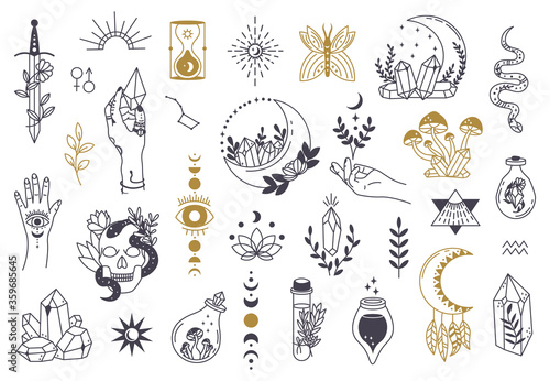 Fototapeta Witch magic symbols. Doodle esoteric, boho mystical hand drawn elements, magic witchcraft crystal, eyes, moon vector illustration icons set. Tattoo alchemy and esoteric, witchcraft magician obraz