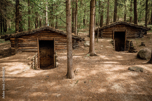 old military dugout in the forest Canvas Print