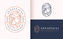 Line Art Floral Women Logo Des...