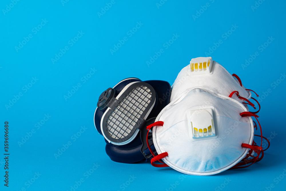 Fototapeta Respirator half mask with medical face mask. Health protection concept