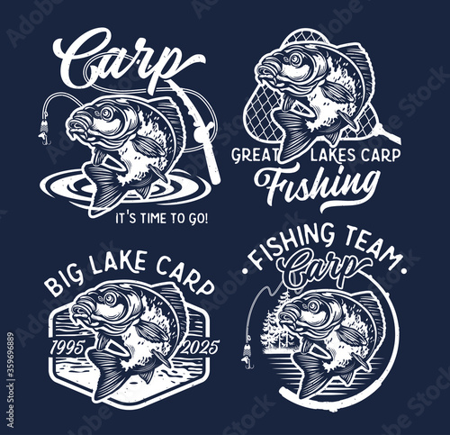 Fotomural Vintage Largemouth Bass Fish Fishing Logos. Vector Illustration.