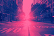 canvas print picture - View of an empty 14th Street in New York City with sunset shining between the buildings in pink and blue colors