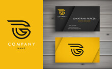 Clean And Stylish Logo Forming The Letter G With Business Card Templates. Modern Logotype Design For Corporate Branding.