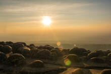 Beautiful Sunset On Nodule Rock Field 's Name Lan Hin Pum Viewpoint At Phu Hin Rong Kla National Park In Thailand