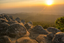 Beautiful Sunset On Nodule Rock Field 's Name Lan Hin Pum Viewpoint At Phu Hin Rong Kla National Park In Thailand
