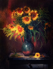 Classic Still Life With Bouquet Of Beautiful Yellow Sunflowers In Old Vintage Jug In A Ray Of Light On Brown Background . Art Photography.