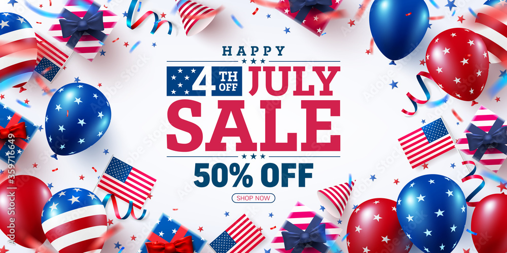 Fototapeta 4 th of July Sale poster.USA independence day celebration with many american balloons flag and Bokeh lights.USA 4th of July promotion advertising banner template for Brochures,Poster or Banner