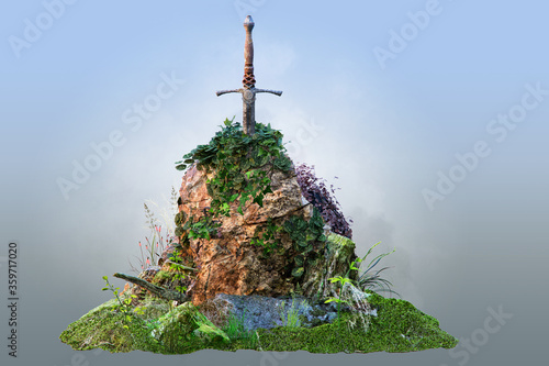 Fotografia Excalibur sword in the old textured stone, isolated, 3D illustration of famous Britain legend