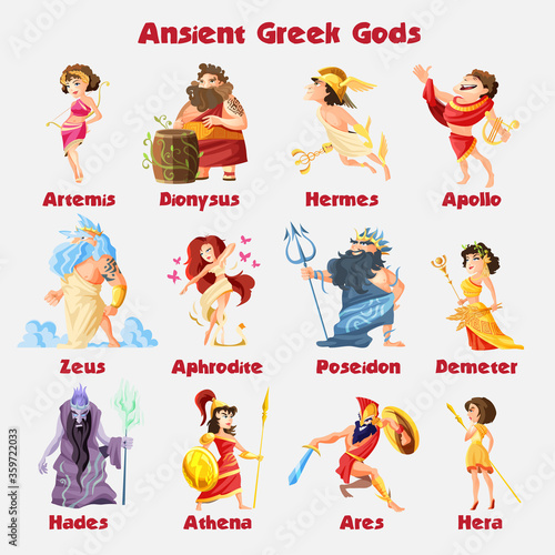 Photo Ancient greek gods cartoon figures sets with dionysus zeus poseidon aphrodite ap