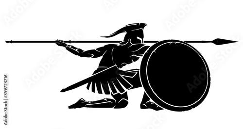 Fotografia, Obraz Spartan Crouching Silhouette, Side View