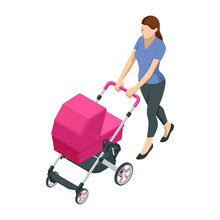 Isometric Baby Carriage Isolat...