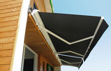 Outdoor High Quality Automatic Sliding Canopy Retractable Roof System, Patio Awning For Sunshade Of A Modern Wooden House.