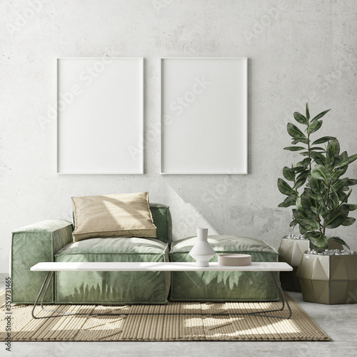 mock up poster frame in modern interior background, living room, Scandinavian style, 3D render, 3D illustration - 359731465