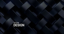 Black Weave Pattern. Vector 3d...