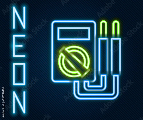 Photo Glowing neon line Ampere meter, multimeter, voltmeter icon isolated on black background