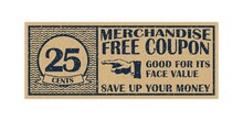 Twenty Five Cents Coupon Template. Discount Coupon On 25 Cents.