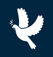Vector Black Silhouette Of A Flying Dove With Olive Branch On A White Background. Flying Bird. Peace Concept. Vector Simple Icon For Presentation, Training, Marketing, Design, Web.