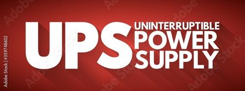 UPS - Uninterruptible Power Supply acronym, technology concept background Canvas Print