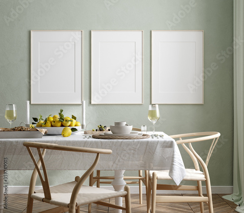Obraz Mock up frame in home interior background, Scandinavian style, 3d render - fototapety do salonu