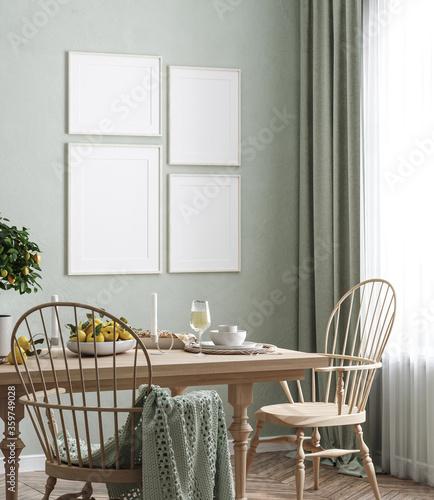 Fototapeta Mock up frame in home interior background, Scandinavian style, 3d render obraz