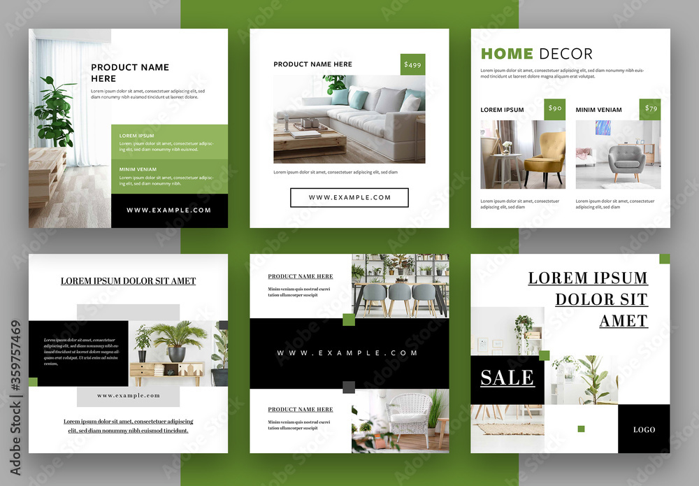 Fototapeta Social Media Post Layouts with Green and Black Accents