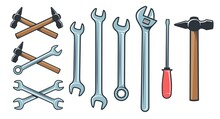 Mechanical Tools Hardware - Spanner Wrench Screwdriver. Hammer Retro Style. Crossed Spanner Icon. Vector Illustration.