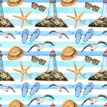 Watercolor Summer Nautical Seamless Pattern With Symbols Of Travel Vacations And Beach. Hand Painted Lighthouse, Flip Flops, Starfish, Sun Hat, Seagull On Blue Striped Background. Marine Illustration