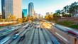 canvas print picture - View of Dowtown LA traffic with motion blur