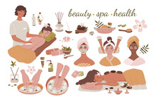 Large Spa, Beauty And Wellness Set Showing Assorted Treatments For Relaxation, Body Care And Skincare, Therapies And Accessories, Colored Vector Illustration