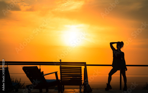 atardecer, playa, mar, silueta, sol, cielo, acuático, oceáno, amanecer, par, gen Canvas Print
