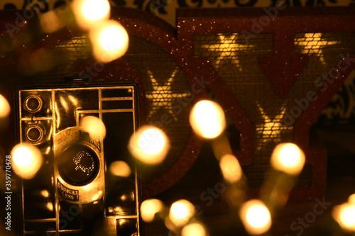 Photo navida, alumbrado, abstracta, alumbrado, vacaciones, celebraciones, noche, borró
