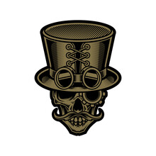 Skull In Top Hat In Steampunk Style Illustration And Tshirt Design
