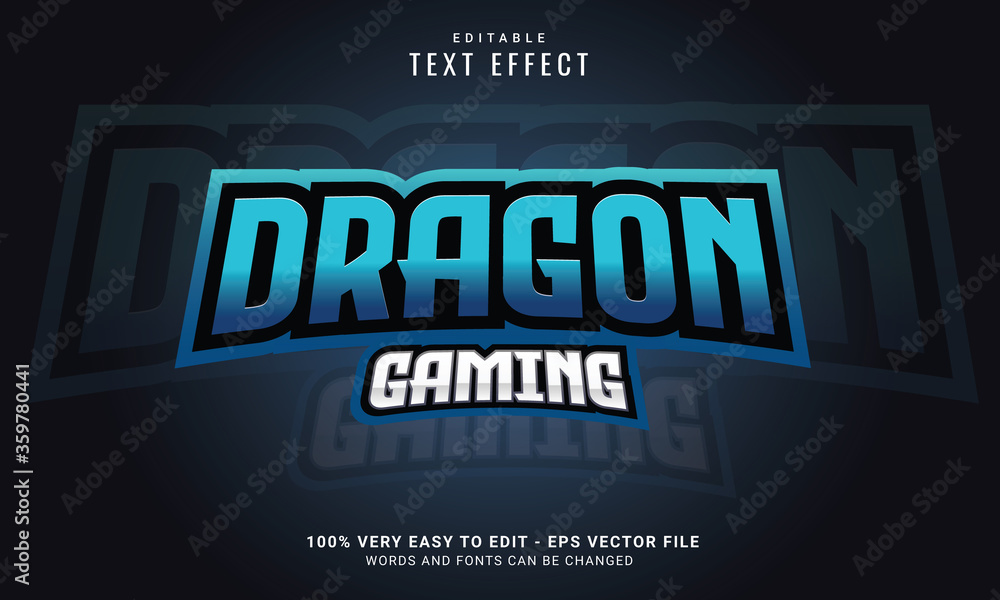 Fototapeta Editable Gaming Text Effect, Words & Fonts Can Be Changed