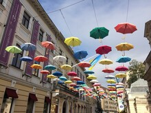 A Street Covered With Umbrella...