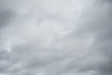 Grey Sky With White Clouds In Rainy Season. Beautiful Grey And White Sky Background Textures.