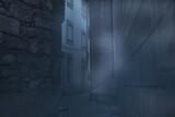 Fototapeta Uliczki - Foggy narrow street